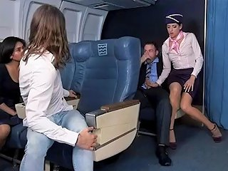 JizzBunker Porno - Flight Attendant Nikki Fucks One Of The Horny Passenger